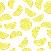 Seamless sliced lemon pattern