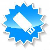 Flash drive blue icon