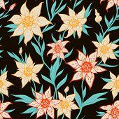 Seamless Pattern With Orange Flowers