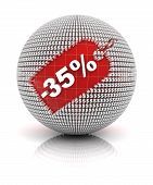 35 percent off sale tag on a sphere