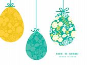 Vector emerald flowerals hanging Easter eggs ornaments sillhouettes frame card template
