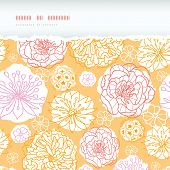 Warm day flowers horizontal decor torn seamless pattern background