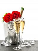 image of sparkling wine  - Champagne two glasses and red roses - JPG