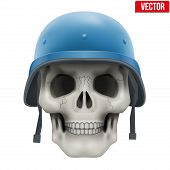 Human skull with Military United Nations helmet.
