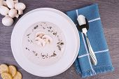 Fresh Cream Of Mushroom Soup In A White Bowl