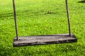 stock photo of swing  - Wooden plank swing - JPG