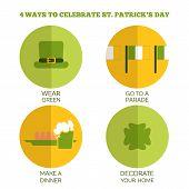 Flat Style Infographics. 4 ways to celebrate Saint Patrick's Day