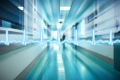 pic of ecg chart  - ECG line on the background of the corridor of the hospital concept of medical emergency - JPG