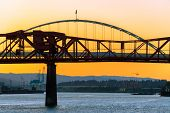 foto of broadway  - Sunset in Portland Oregon with a view of the Broadway Bridge and the Fremont Bridge - JPG
