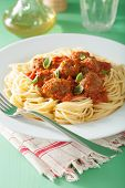 pic of meatball  - spaghetti with meatballs in tomato sauce - JPG