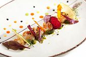 image of scallops  - Sea Scallop with Fried Vegetables Chips - JPG