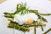 picture of benediction  - Benedict egg with grilled asparagus and parmesan - JPG