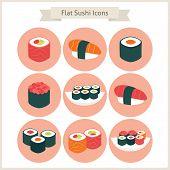 image of sushi  - Flat Big Sushi Set Circle Icons - JPG