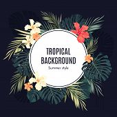 stock photo of jungle flowers  - Summer tropical hawaiian background or flyer with jungle palm tree leaves and exotic flowers - JPG