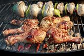 pic of roast chicken  - BBQ Roasted Chicken Legs And Mushrooms On The Hot Charcoal Grill - JPG