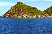 pic of beach-house  - asia kho tao bay isle white beach rocks house boat in thailand and south china sea - JPG