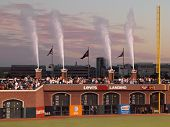 Water Fountians Shoot Into The Air After The National Anthem Before Start Of Game