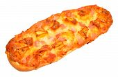 stock photo of baguette  - Fresh ham and pineapple baguette pizza isolated on a white background - JPG