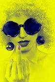 picture of middle finger  - Portrait of Fashion nude hipster girl showing middle finger - JPG