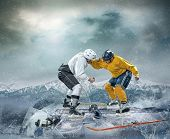 picture of ice hockey goal  - Ice hockey players on the ice in box drama - JPG