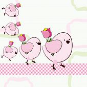 Five birds are drawing flowers on a light green background. Illustration in the style of scrapbook.