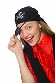 pic of pirate girl  - Pretty pirate girl isolated on white - JPG