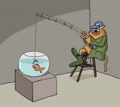 stock photo of starving  - Funny conceptual cartoon about cat fishing in a fish bowl - JPG