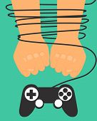 stock photo of controller  - Game dependence concept - JPG