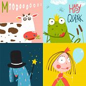 picture of amusement  - Amusing bright fun baby animals illustrations for children - JPG