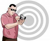 pic of gunshot  - Man shoots from pistol on target background - JPG