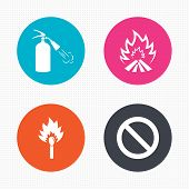 stock photo of fire extinguishers  - Circle buttons - JPG