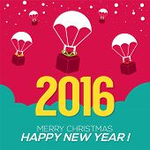 pic of parachute  - Parachutes On Colorful Background 2016 New Year Card Vector Illustration - JPG