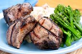 picture of lamb chops  - grilled lamb chops with creamy mashed potatoes - JPG