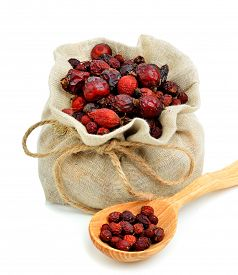 pic of bag-of-dog-food  - Dog rose in the sack isolated on white - JPG