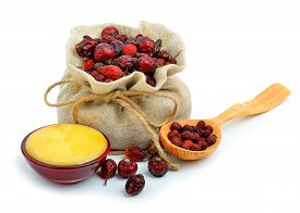 image of bag-of-dog-food  - Dog rose in the sack with honey isolated on white - JPG