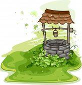 Abbildung eines Brunnens umgeben von Kleeblätter