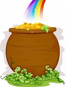 Illustration of a Pot of Gold at the End of the Rainbow for Background