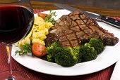 pic of porterhouse steak  - A mouth watering porterhouse steak with fresh vegetables and pasta - JPG