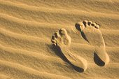 Footprint on the sand of the beach. Symbol of summer travel vacation