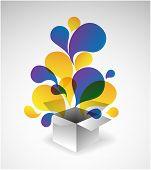 Caja de regalo de explosión - ilustración abstracta llena de colores