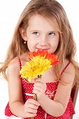 Cute Little Girl With Daisies