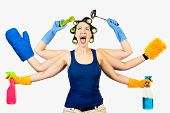 stock photo of kali  - A woman in a domestic role multi tasking her cleaning - JPG