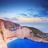 Panorama Of Zakynthos Island, Greece With A Shipwreck On The Beach