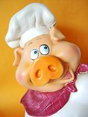 stock photo of curio  - Small curio funny pig with a chef hat - JPG