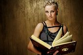 Steam punk girl with a book