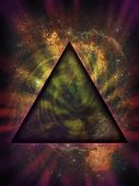 stock photo of illuminati  - Illustration of an ominous mystical black triangle set against the nebulosity and stars of a deep space background - JPG