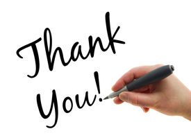 picture of thank you note  - Illustration of a hand with a pen writing Thank You note on white paper background - JPG