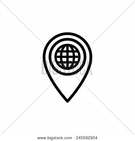 Globe With Location Vector Icon On White Background Globe With