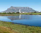 From The Milnerton Lagoon, Cape Town South Africa, With Table Mountain Reflecting In The Water poster