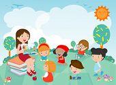Teacher Telling A Story To Nursery Children In The Garden, Cute Kids Listening To Their Teacher Tell poster